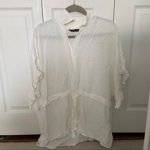 White blouse with front tie